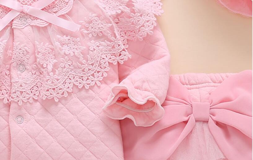Newborn baby girl fall winter clothes outfits & set Medium thick warm padded top outerwear+pants+hat pink lace princess outfits