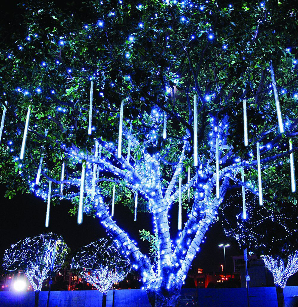 New Year 30 50 80cm Outdoor Meteor Shower Rain 8 Tubes LED String Lights Waterproof For Tree Christmas Wedding Party Decoration