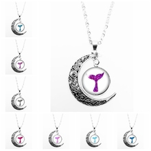 2019 New Hot Colorful Mermaid Tail Pattern Series Glass Cabochon Pendant Moon Necklace Girl Jewelry Gift