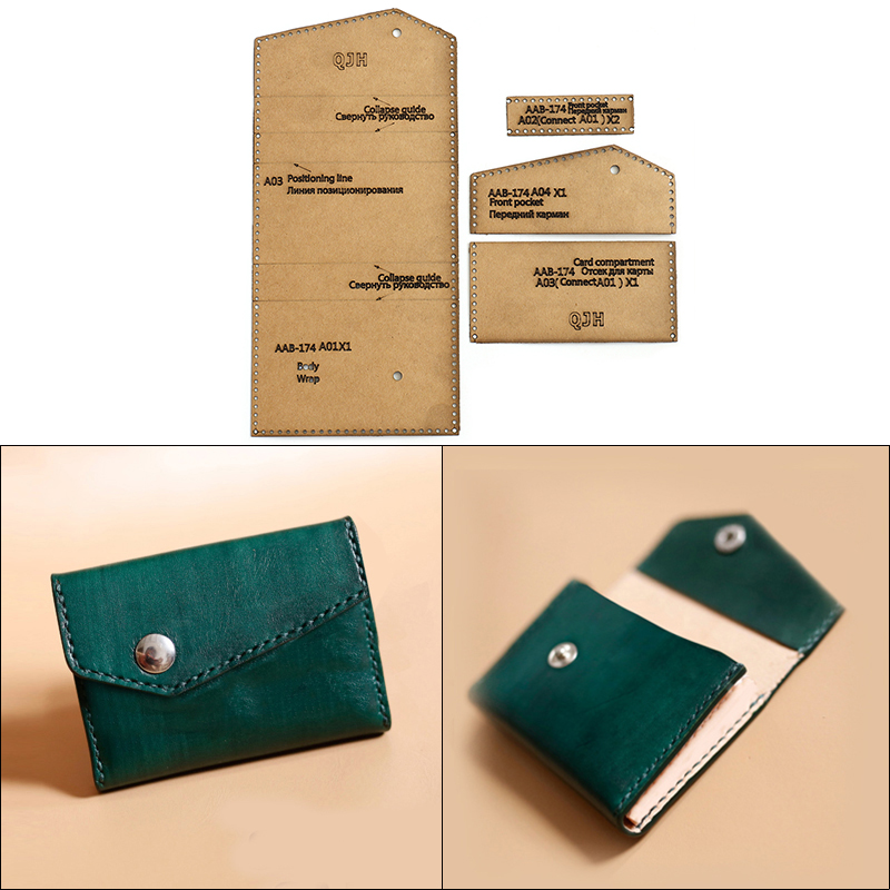 DIY Handmade Card Business Card Wallet Kraft Paper Template Handmade Leather Craft Bag Template 10*6.5*2cm