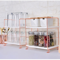 Baffect Stackable Kitchen Shelf Organizer Shelves for Spices Metal PP 2/3 Tiers Rose Gold Storage Rack for Kitchen Bathroom