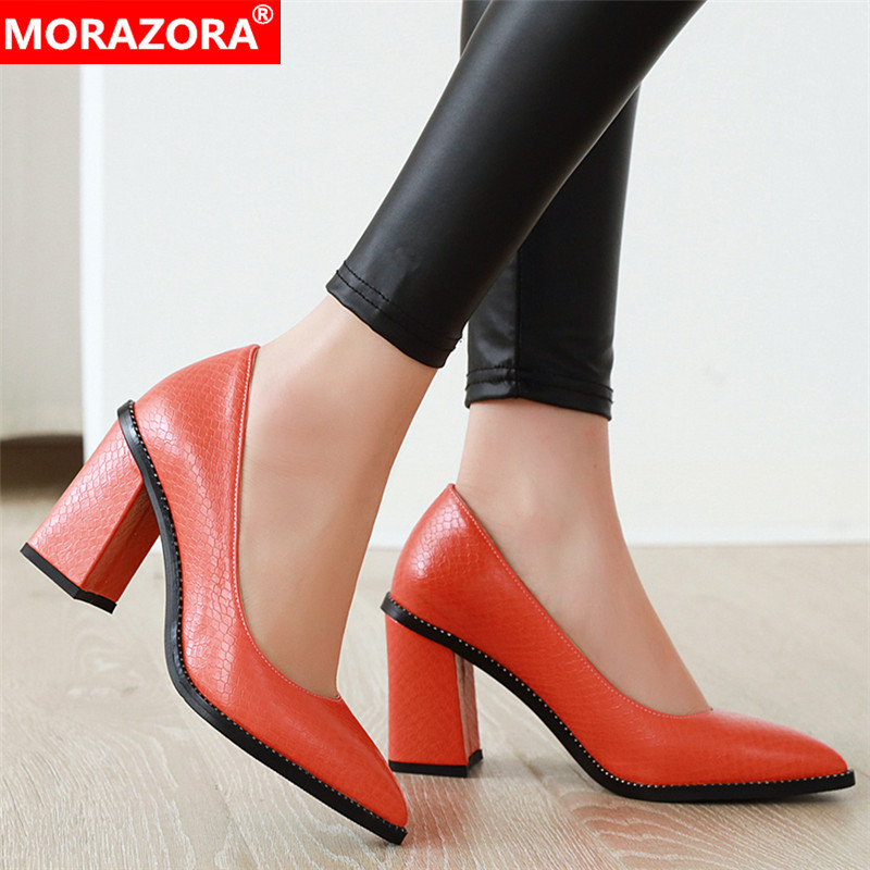 MORAZORA Plus Size 33-46 Thick High Heels Women Pumps Pointed Toe Simple Spring Summer Ladies Shoes Woman Fashion Office Shoes