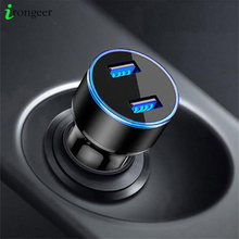 5V 3.1A Dual USB Car Charger Voor iPhone 11 Pro Max Universele Telefoon Auto Oplader voor Samsung S10 plus S9 Tabletten Geen LED Display