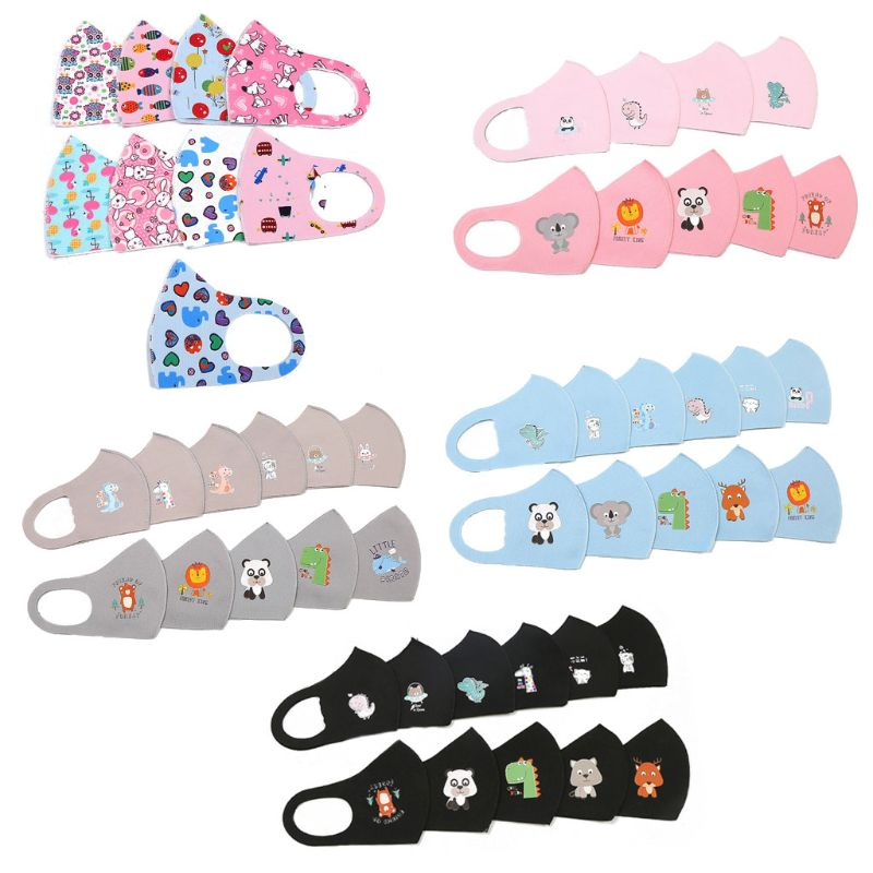 10Pcs PM2.5 Kid Reusable Anti Flu Face Mask Breathable Washable Sponge Dustproor Mouth Mask Random Pattern For Children