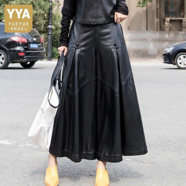 למעלה באיכות עור כבש מכנסיים נשים סתיו חורף Loose רחב רגל מכנסיים Streetwear בציר שחור אלסטי מותניים משרד ליידי מכנסיים