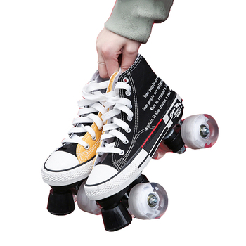 Factory Direct Sales New Color Canvas Shoes Double-Row Roller Skates Flash Wheel Skates Roller Shoes Outdoor Training Man Woman
