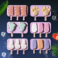 Silicone Ice Cream Mold Animal Shape Jelly Ice Hockey Machine DIY Food Supplement Tool Popsicle Stick Summer hot Sale