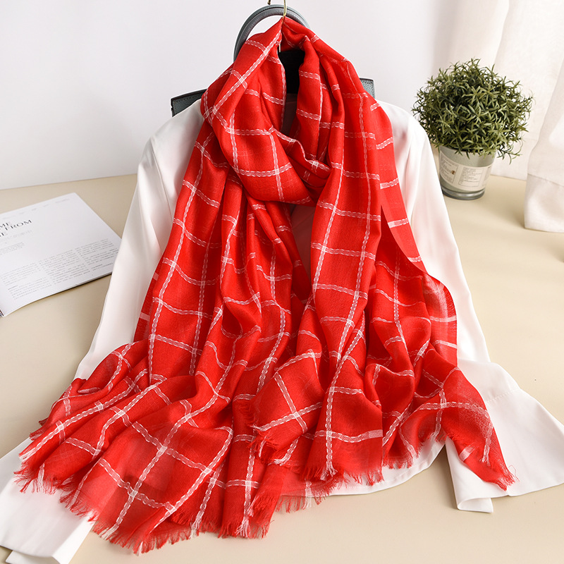 Plaid Winter Scarf Women Soft Thin Cashmere Scarves Long Large Shawls and Wraps Lady Travel Pashmina Hijab Femme Foulard Bandana in Women 39 s Scarves from Apparel Accessories