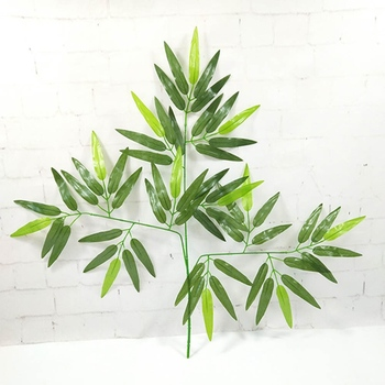 1 Pc Artificial Green Bamboo Leaves Fake Green Plants Greenery Leaves for Home Hotel Office Decoration image