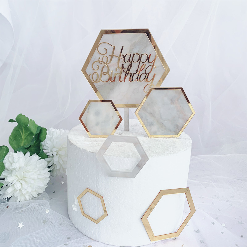 Swell 1Pc 3Pcs Marble Acrylic Cake Topper Hexagon Gold Happy Birthday Funny Birthday Cards Online Elaedamsfinfo