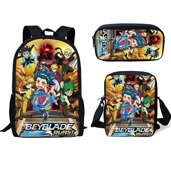 Beyblade Burst 3Pcs Set School Backpack Shoulder Bag Pencil Bag Set Cartoon Print School Bag Kids Boy Children Book Bag