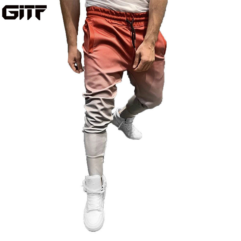 GITF Gradient Jogging Pants Men GYM Training Pants Sportswear Joggers Sports Pants Men Running Swearing Pants Jogging Sweatpants