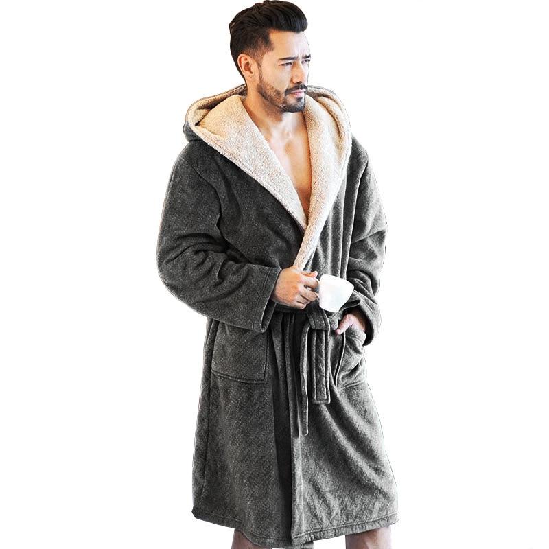 New Winter Men Bathrobes Hooded Flannel Long Bath Robe Male Comfort Gray Long Home Warm Dressing Gown Vs Tmall