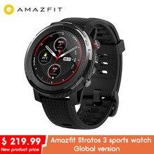 Amazfit smartwatch stratos 3 de versão global, smartwatch esportivo huami, com gps, à prova d água, 19 modos esportivos para homens e mulheres