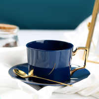 Luxury Nordic Coffee Cup and Saucer Set Bone China European Minimalist Teacups and Saucers Afternoon Espresso Cups Porcelain D6D