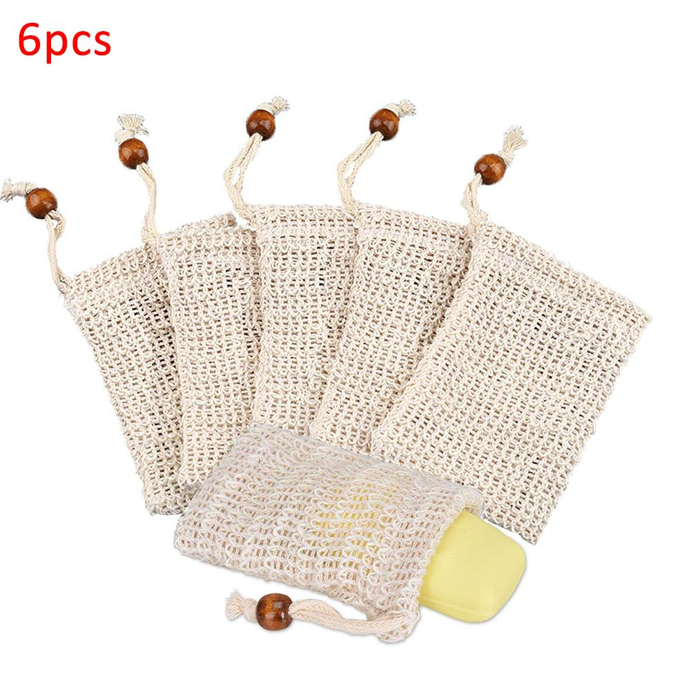 6Pcs Ramie Exfoliator Massage Foaming Bubble Soap Bag Mesh Net Shower Exfoliator Sponge Pouch Cleaning Gloves Bathing Tool