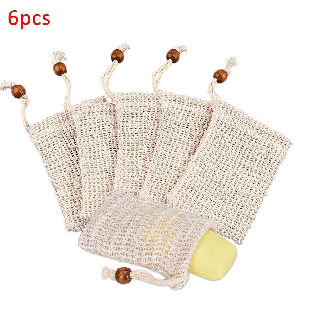6Pcs Ramie Exfoliator Massage Foaming Bubble Soap Bag Mesh Net Shower Exfoliator Sponge Pouch Cleaning Gloves Bathing Tool