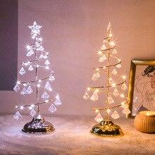 Светодиодный настольный светильник на рождественскую елку с питанием от аккумулятора, Современный хрустальный Настольный светильник, декор для спальни, гостиной, рождественский подарок, настольный светильник s