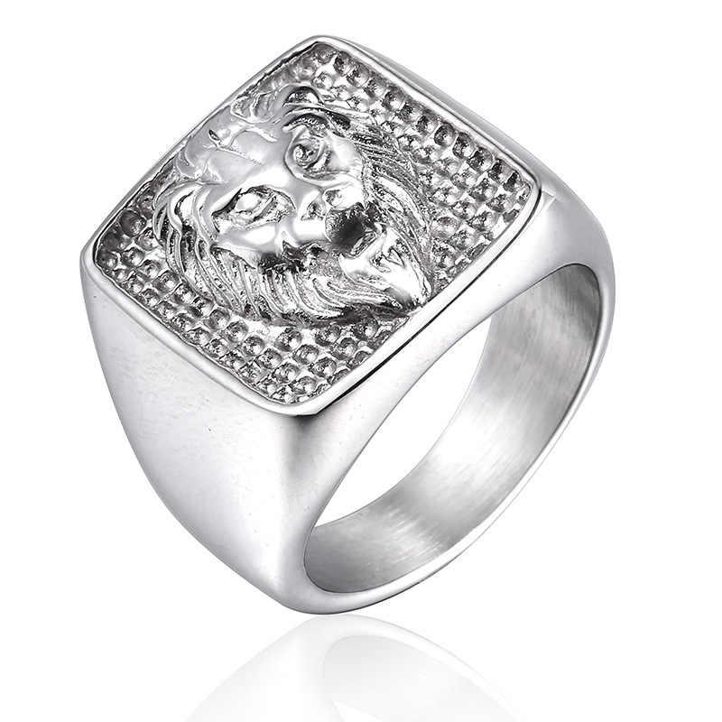 أسد حيوان خاتم رجالي خاتم خاتم مربع فضي ذهبي اللون التيتانيوم الفولاذ المقاوم للصدأ الذكور خواتم مجوهرات الفرقة فاسق الورك الورك DCR095