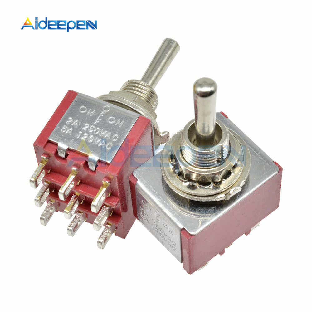 On-OFF-On 9 Pin 9 Posisi MINI Menempel Toggle Switch 120V 5A 250V 2A MTS-303 13*16.8 Mm Perak Kontaktor