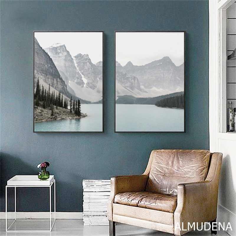Скандинавский пейзаж, горное озеро, холст, картины, украшение дома, гостиная, настенные художественные картины, природные пейзажи, плакаты и принты