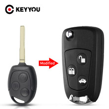 KEYYOU-llave remota modificada para coche, funda de 3 botones FO21 HU101 Fob para Ford Focus Mondeo Fiesta C-MAX Fusion Transit KA