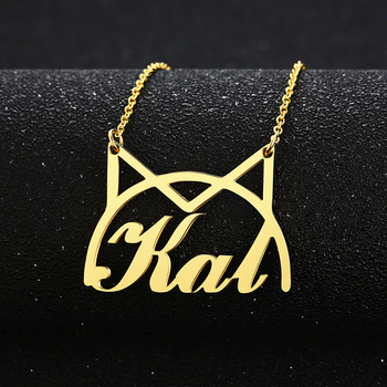 CAT NAME NECKLACE STAINLESS STEEL PERSONALIZED CAT NECKLACE JEWELRY NAME+FONT NUMBER