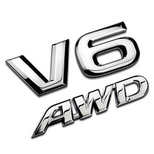 3D Metal V6 Engine AWD Full-time Four-wheel Drive Limited Display Car Stickers Emblem Badges For Car Decoration Accessories