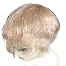 Toupet de cheveux humains pour hommes, ligne de cheveux naturels ondulés, couleur 6x8, #22