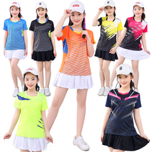 Girls Badminton Shirt Skirt Sets short sleeve Tennis T shirt Suit Girl Ping Pong Clothes Women Table Tennis Clothing Size XS-3XL