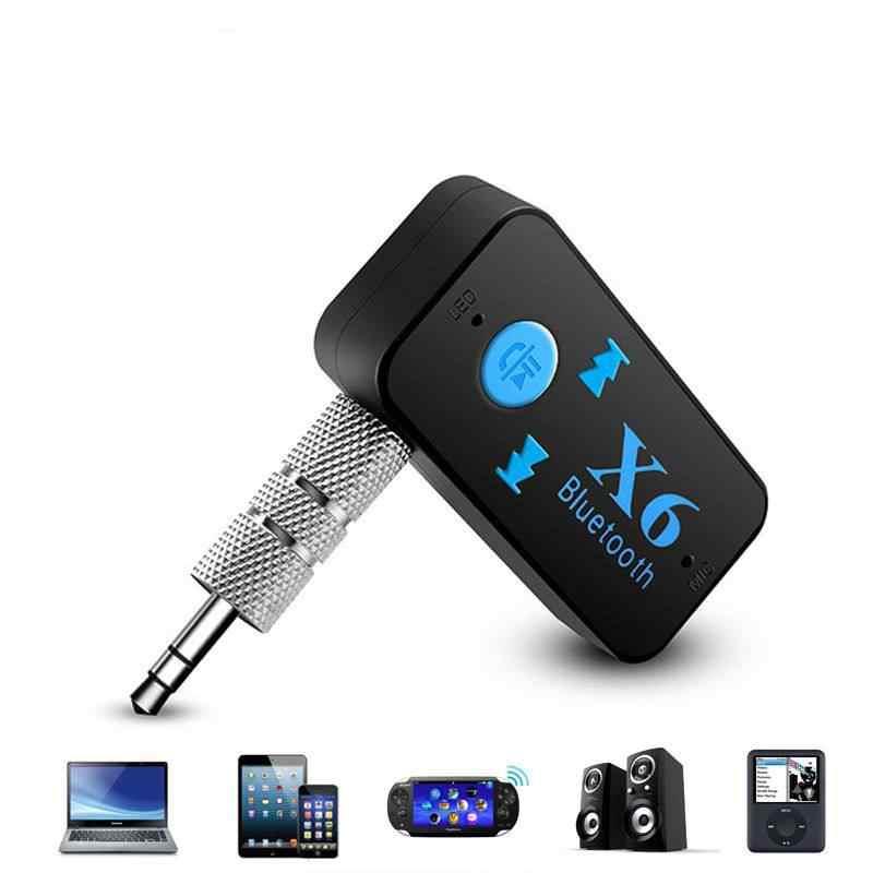 X6 Araba Mini kablosuz bluetooth Alıcı Verici Araç Ses Adaptörü Araç Kiti Hands-Free Ile 3.5mm Fiş