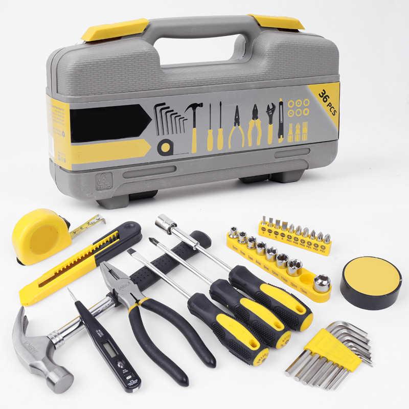 一般的な家庭用自動車修理ツールソケットレンチツールセットコンビネーションパッケージハンドツールキットとプラスチックの収納ケース