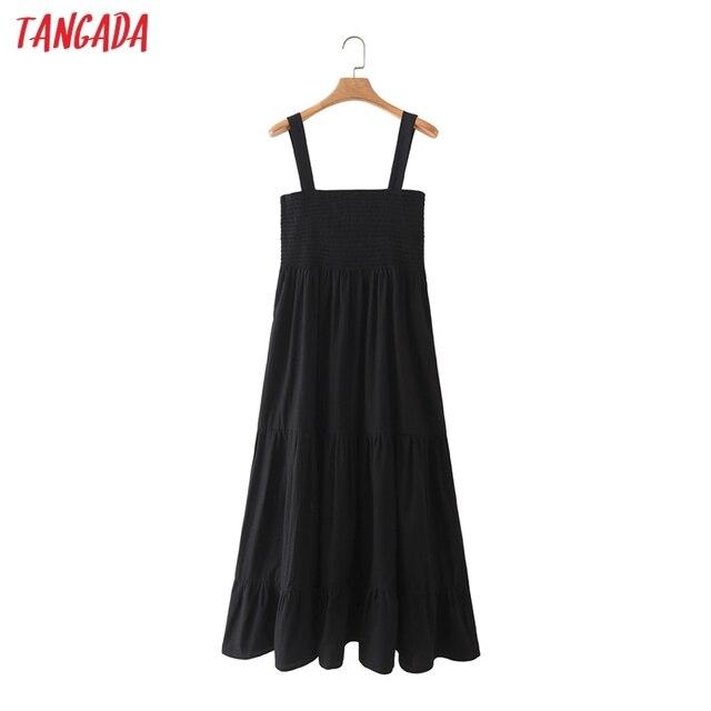 Tangada Women Black Cotton Dress Sleeveless Backless 2021 Fashion Lady Maxi Dresses 5X63 1