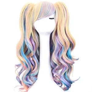 Длинные волнистые косплей Лолита парик синий блонд розовый Омбре два хвоста синтетические волосы девушки термостойкие волокна парики для ...