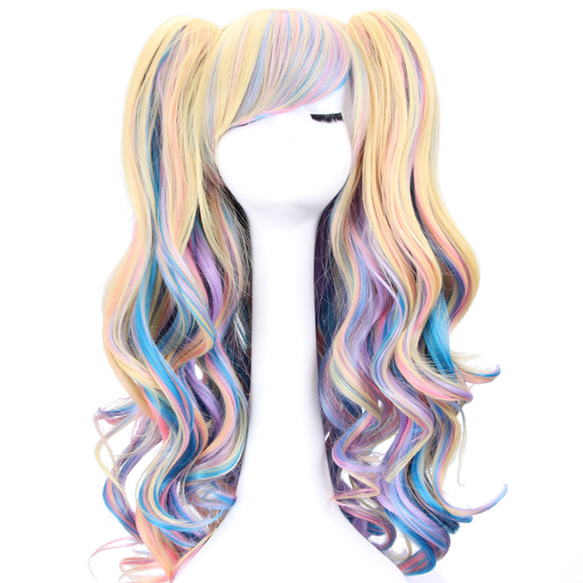 Long Wavy Cosplay Lolita Wig Blue Blonde Pink Ombre Two Ponytails Synthetic Hair Girls Heat Resistant Fiber Wigs For Women