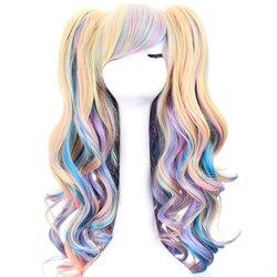 Длинные волнистые парики для косплея Лолита синие блонд розовые Омбре два конского хвоста синтетические волосы для девочек термостойкие в...