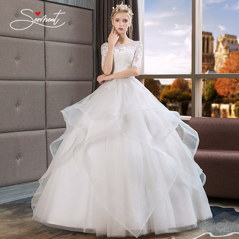 Wedding Dress 2019 New Summer Paragraph Word Shoulders In The Sleeves Bride Large Size Pettidress Women