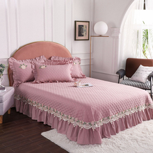 Pillowcase Bedspread Bedding Bed-Cover Quilting Cotton Luxury Pink Red Gray Lace-Design