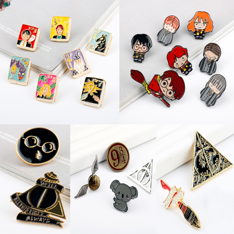26 Style Movie Hogwarts School Brooch Deathly Hallows Pin Poison Bottle Nimbus 2000 Badge Backpack Lapel Pins For Lady Kid Gift