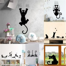 Creative Lazy Black Cat Wall Sticker Home Room Decoration Murals Wall Decals Art Wallpaper Amimals Vinyl Stickers(China)