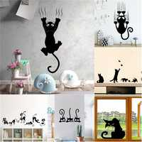 Creative Lazy Black Cat Wall Sticker Home Room Decoration Murals Wall Decals Art Wallpaper Amimals Vinyl Stickers