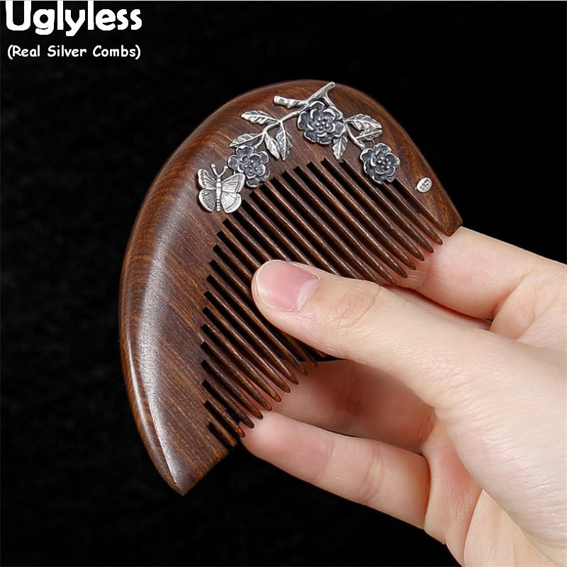 Uglyless Real Thai Silver Flowers Ginkgo Vines Hair Jewelry 925 Silver Hair Combs Nature Wood Sandalwood Combs Health Care Jewel