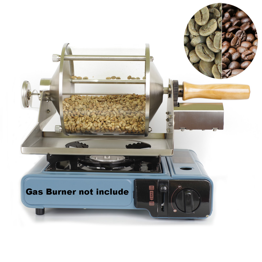 110V/220V Small Household Fuel Gas Coffee Beans Baking Machine Direct Fire Roaster 400G Capacity Glass Transparent Visualization