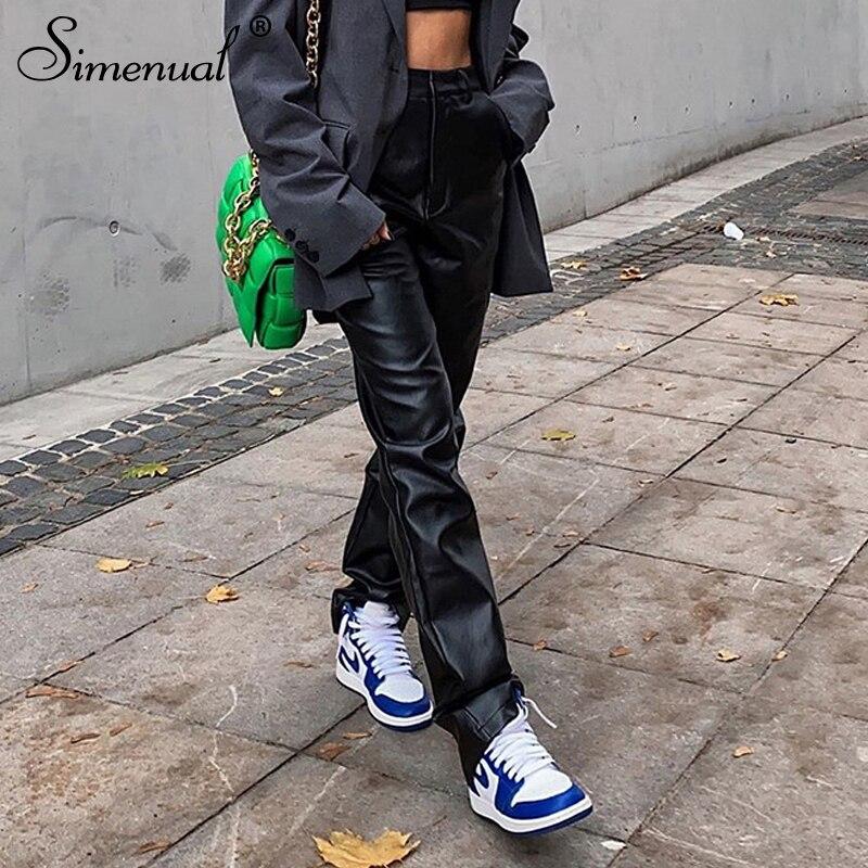 Simenual Faux Pu Leder Breite Bein Hosen Hohe Taille Herbst 2020 Frauen Kleidung Mode Hosen Solide Lose Straße Stil Lange hosen