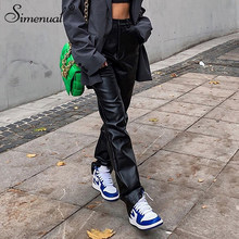 Simenual-pantalones de pierna ancha de piel sintética para mujer, pantalón largo, holgado, de cintura alta, moda urbana, 2020