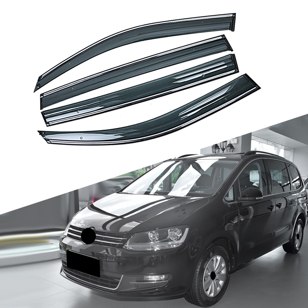 For VOLKSWAGEN VW Sharan 7N 2010-2019 Car Window Sun Rain Shade Visors Shield Shelter Protector Cover Trim Frame Sticker