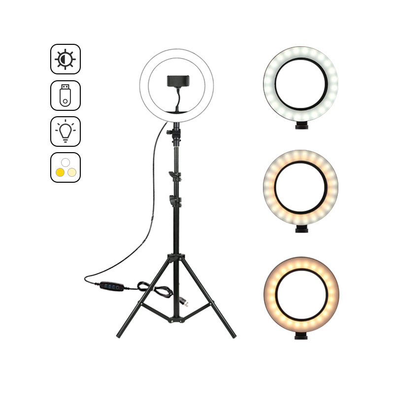 3 Color Led Light 10inch 26cm Ring Light with Tripod Stand for Live Stream Video Universal Phone Clip for Selfie Tiktok