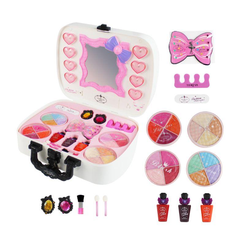 Kit de jeu de jouets de maquillage petites filles enfants semblant jouer Non toxique costume de sécurité cosmétique voyage cadeau de beauté