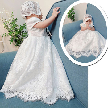Free Ship Luxury Infant Dress for Christening Girls Maxi Baby Girl Lace Dresses Baptism Baby Clothes Birthday Christmas Outfits with hat baby christening dress empire waistline short sleeves lace appliques ruffled baby girl baptism birthday gowns hot sale