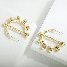 2020 Fashion High Street C Shape Hoops Gold Color Metal Earrings Korean Circle Round Hoop Earrings for Women Earrings Jewelry new korean hoops hoop earrings metal hollow pearl zircon cute classic flowers women s earrings for jewelry accessories